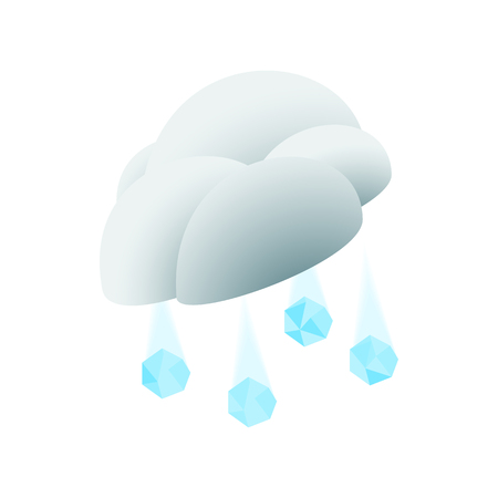 hail: Cloud with hail icon in isometric 3d style on a white background
