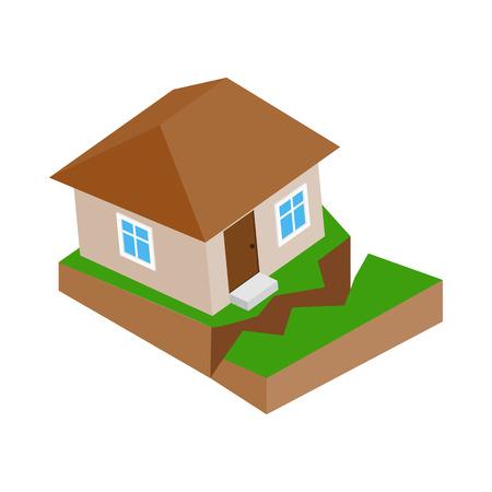 Casa con crepa nel icona di terreno in stile isometrico 3D su uno sfondo bianco