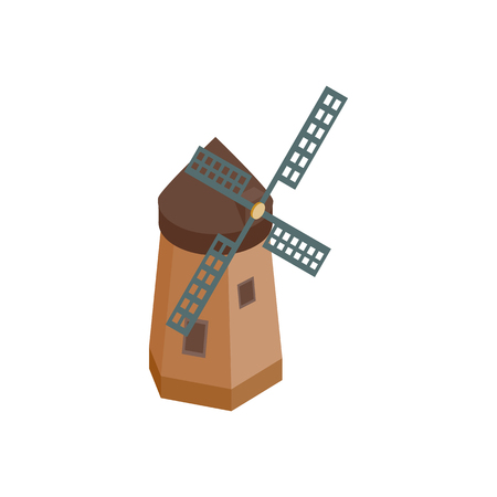 dutch landmark: Windmill icon in isometric 3d style on a white background