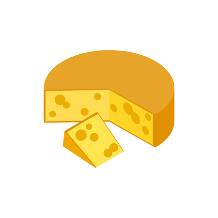 hard crust: Traditional Dutch Gouda cheese icon in isometric 3d style on a white background Illustration