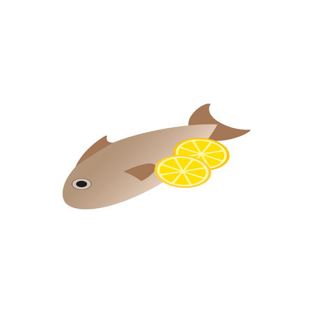 fried fish: Fish dish icon in isometric 3d style isolated on white background. Fried fish with lemon dish icon