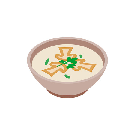 savoury: Mushroom soup icon in isometric 3d style isolated on white background