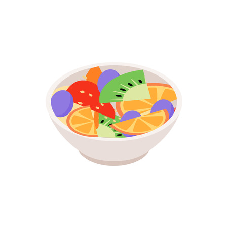 fruit salad: Fruit salad icon in isometric 3d style isolated on white background. Salad with fresh fruits and berries