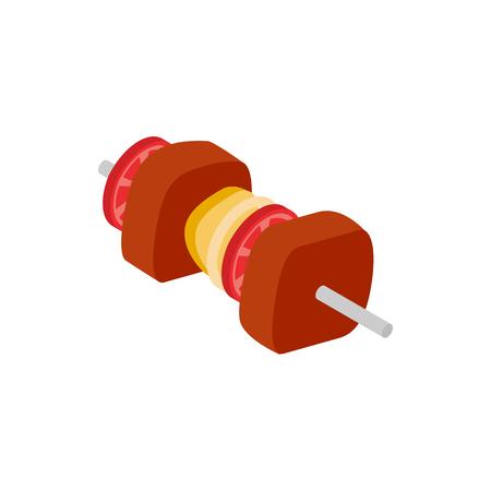 shish: Shish kebab icon in isometric 3d style isolated on white background Illustration