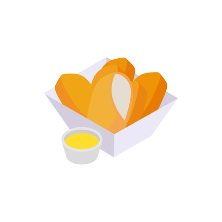 chicken fingers: Chicken nuggets icon in isometric 3d style isolated on white background. Chicken fingers in the paper basket with sauce