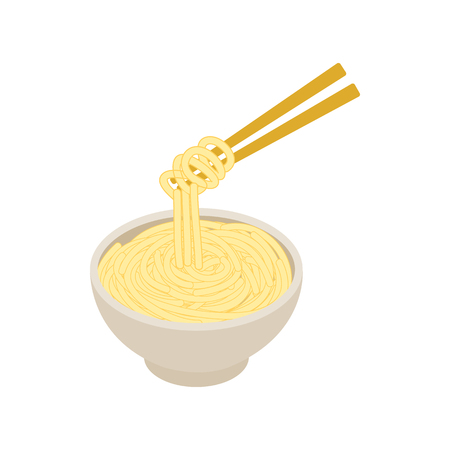 thai noodle: Chinese noodles icon in isometric 3d style isolated on white background. Chinese noodles in a bowl and chopsticks Illustration