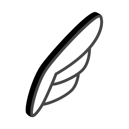 quickness: White simple wing logotype icon in isometric 3d style isolated on white background. White simple wing with black contour
