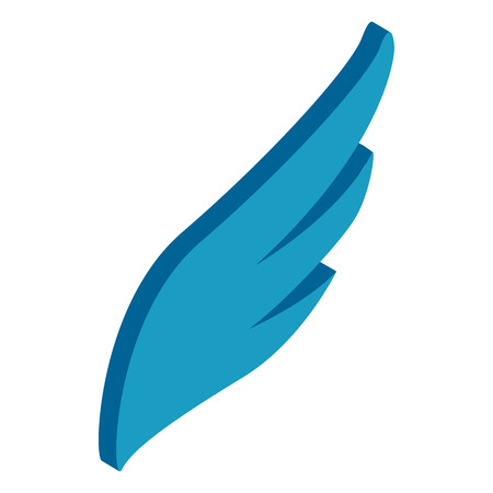 quickness: Blue simple wing logotype icon in isometric 3d style on white background Illustration
