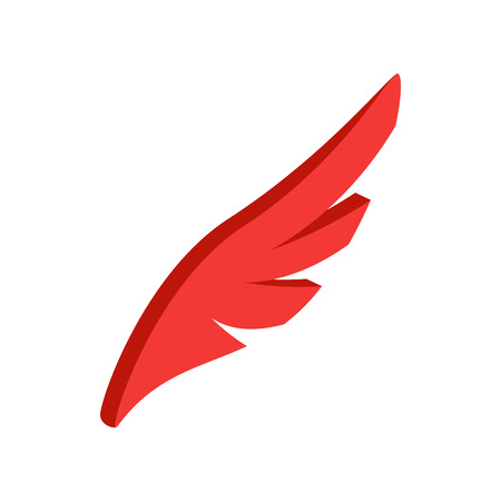 quickness: Red simple wing logotype icon in isometric 3d style isolated on white background