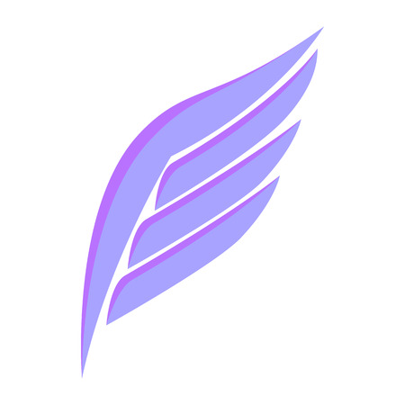 quickness: Violet simple wing logotype icon in isometric 3d style isolated on white background