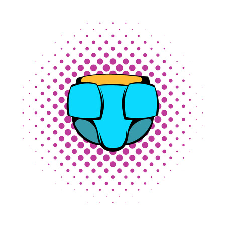 pampers: Baby diaper icon in comics style on a white background