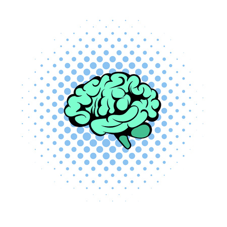 midbrain: Human brain icon in comics style on a white background Illustration