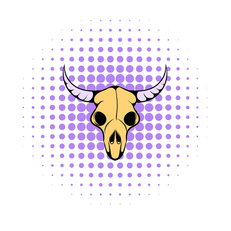 cranial: Buffalo skull icon in comics style on a white background Illustration
