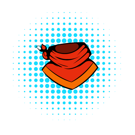 Cowboy neckerchief icon in comics style on a white background Illustration
