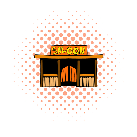 saloon: Western saloon icon in comics style on a white background