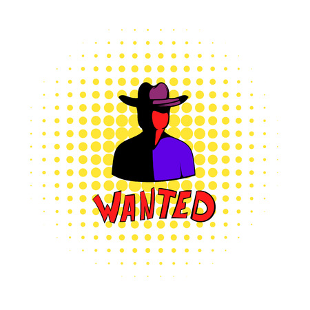 lawman: Vintage wanted poster icon in comics style on a white background