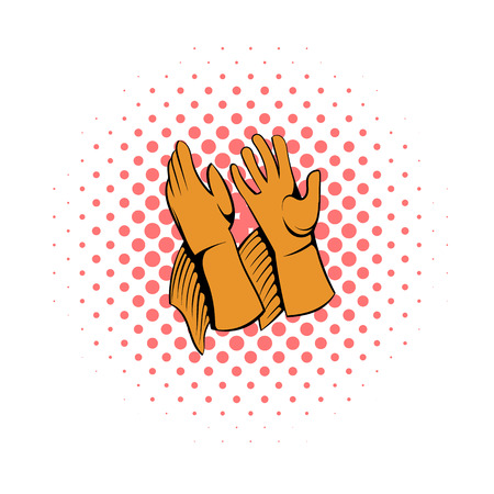 work gloves: Rancher gloves icon in comics style on a white background