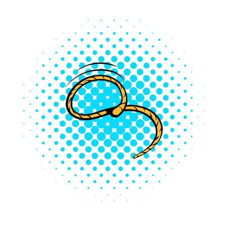 knot work: Lasso icon in comics style on a white background