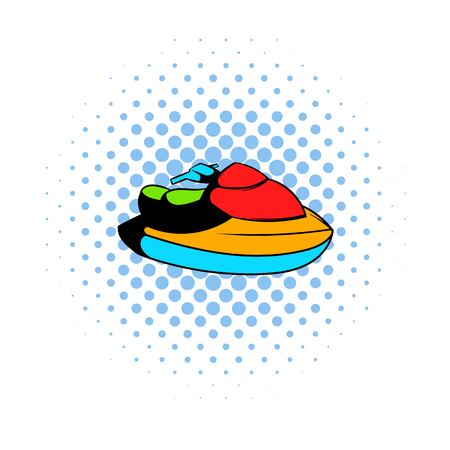 water jet: Jet ski water scooter icon in comics style on a white background