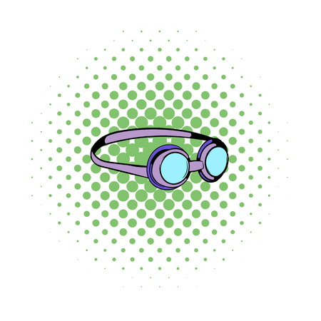 plastik: Goggles for swim icon in comics style on a white background