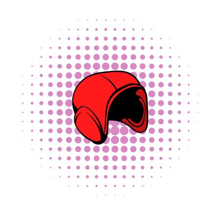 casco rojo: el icono del casco rojo en estilo cómic sobre un fondo blanco Vectores