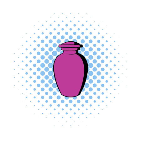 ashes: Urn for ashes icon in comics style on a white background