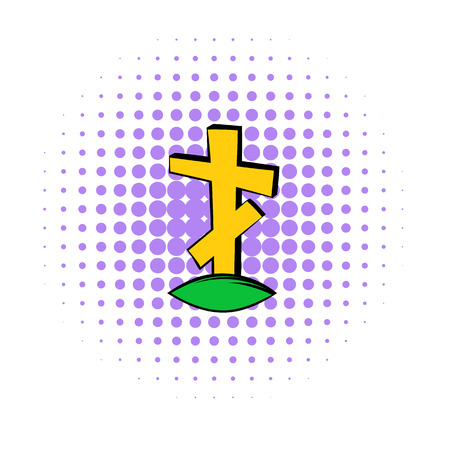 stone tombstone: Cross tombstone icon in comics style on a white background Illustration