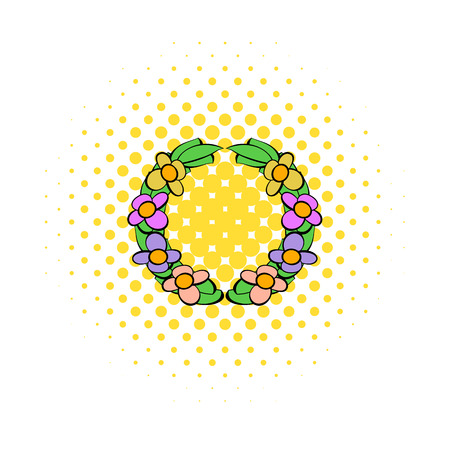 condolence: Memorial wreath of flowers icon in comics style on a white background