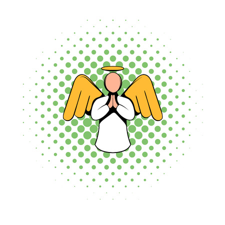 baptist: Angel icon in comics style isolated on white background