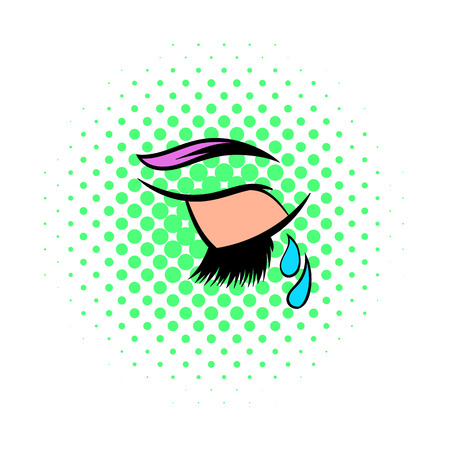 despondency: Crying closed eye icon in comics style isolated on white background