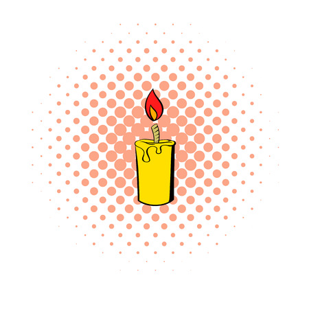 glow stick: Burning candle icon in comics style isolated on white background