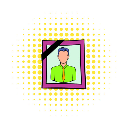 deceased: Photo of deceased icon in comics style isolated on white background. Photo portrait in frame and with black ribbon for funeral