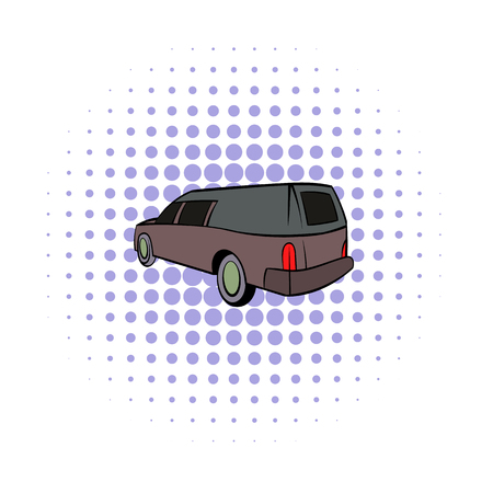 hearse: Hearse icon in comics style isolated on white background Illustration
