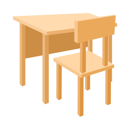 writing chair: Wooden school desk and chair icon in cartoon style on a white background
