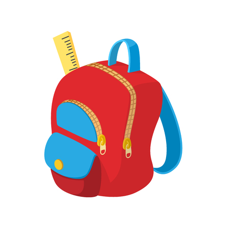 child studying: School bag icon in cartoon style on a white background Illustration