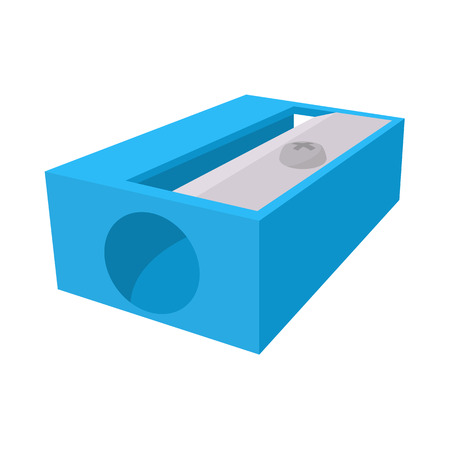 Blue pencil sharpener icon in cartoon style on a white background