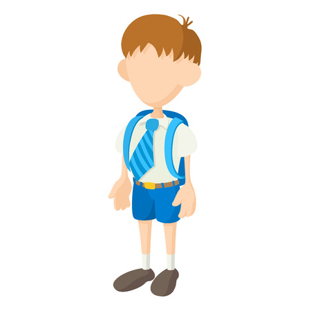 child of school age: School boy in uniform icon in cartoon style on a white background Illustration