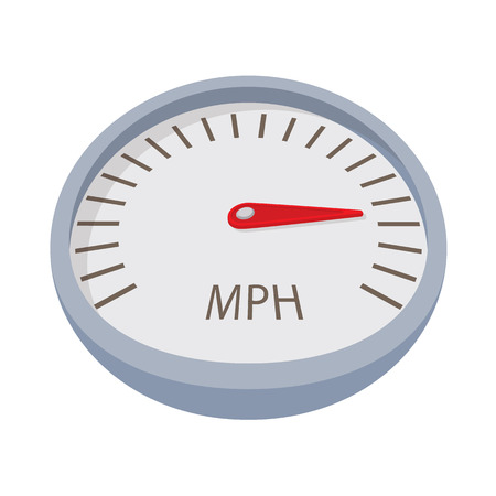 mile: Speedometer or gauge icon in cartoon style isolated on white background