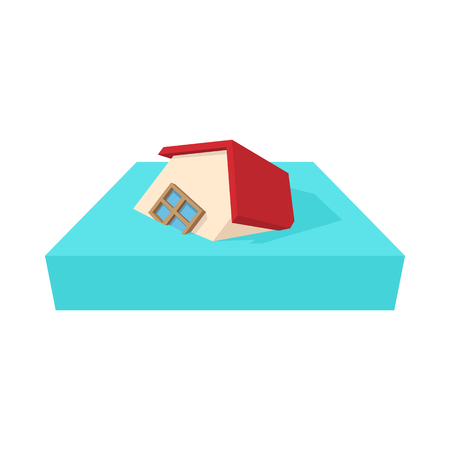 house warming: House sinking in a water icon in cartoon style on a white background