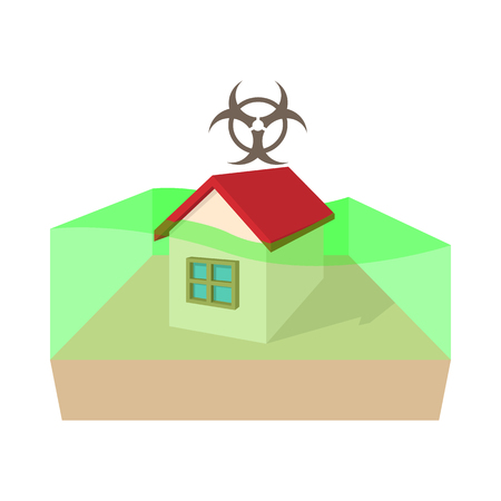 toxic cloud: Biohazard zone icon in cartoon style on a white background