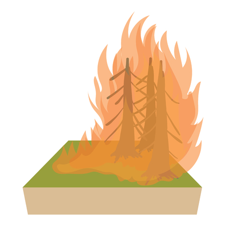 conflagration: Forest fire icon in cartoon style on a white background Illustration