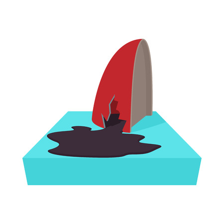 toxic accident: An oil tanker accident, with an oil slick icon in cartoon style on a white background