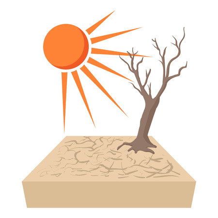 drought: Lonely dead tree at drought cracked desert landscape icon in cartoon style on a white background
