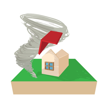 destroyed: House destroyed by hurricane icon in cartoon style on a white background Illustration