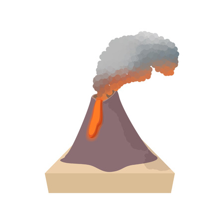 erupting: Volcano erupting icon in cartoon style on a white background