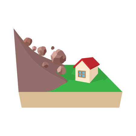 House hit by rockfall icon in cartoon style on a white background