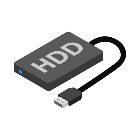 hard: Hard disk drive icon in cartoon style isolated on white background Illustration