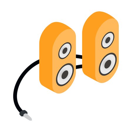 computer speaker: Computer speaker icon in cartoon style isolated on white background