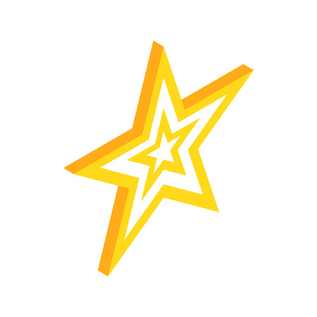 Gold Star Icon In Isometric 3d Style On A White Background Royalty
