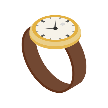 chronograph: Wrist watch icon in isometric 3d style on a white background